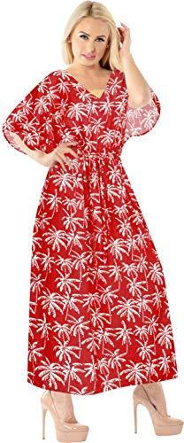 LA LEELA Vestido largo para mujer, tipo kimono, para fiestas, vacaciones, para la playa, para el día a día
