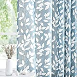Treatmentex White Blue Curtains for Bedroom 72 inches Long Living Room Drapes Leaf Print Semi-Sheer Curtains for Kitchen Windows, Grommet Top, 2 Pack