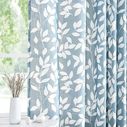 """Treatmentex White Blue Curtains for Living Room 84"""" Length Leaf Print Semi-Sheer Curtains for Kitchen Windows, Grommet Top, 2 Pack"""