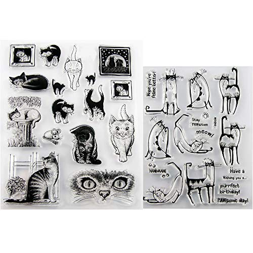 Cat Clear Silicone Stamps Postage Alphabet Transparent Stamps Seal for Scrapbooking and Card Making by Baryuefull