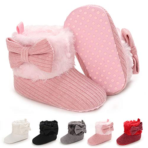 BENHERO Infant Baby Boys Girls Boots Premium Soft Sole Anti-Slip Warm Winter Snow Boots Newborn Crib Shoes(12-18Months Toddler), F/Pink