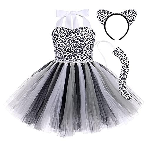 OBEEII 3Piezas Disfraz de Animal para Niñas Chicas Vestido de Leopardo/Jirafa/Cebra/Tigre/Vacas Tutu con Cola Diadema Cosplay Halloween Carnaval Traje Leopardo Negro 9-10 Años