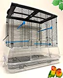 Mcage Large Flight Bird Cage for Cockatiel Canary Finch Budgies Aviary Parakeet with Easy Clean No Mess Detachable Clear Transparent Base (Black)