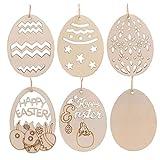Odoukey 10 Mestieri di Legno creativi, con Uova a Forma di Ciondolo, usate per la casa Decorazione di Pasqua Partito di Festa, a Forma di Uovo scolpito Ciondolo Fatti a Mano Fai da Te