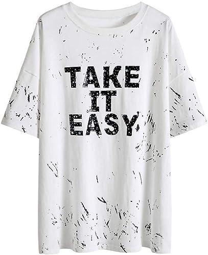 O&YQ T-Shirt Blanc D'été à Manches Courtes, Femme, Longue Section, avec Imprimé de Lettres de Personnalité, Blanc, s