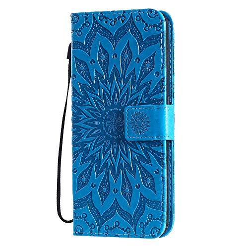 XTCASE Custodia per Oppo A9 2020 / A5 2020 Mandala Fiore, Cover Libro Pelle PU e TPU Silicone con Funzione Supporto Chiusura Magnetica Portafoglio Bumper Case - Blu
