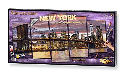 Schipper 609450806 Malen nach Zahlen, New York in der Morgendämmerung - Bild malen für Erwachsene, inklusive Pinsel und Acrylfarben, 5 Bilder, Meisterklasse Polyptychon - Profi-Edition, 132 x 72 cm