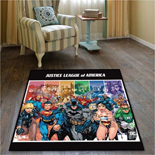 chengcheng DC Comics Justice League Alfombra Dormitorio Sala de niños Vestíbulo Alfombra Antideslizante Silla de Piso Pad Drum Pad 140x140cm