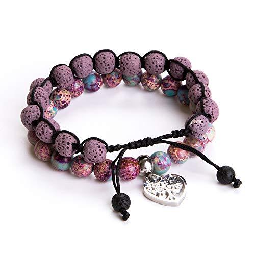 Tree of Life Bracelet - Lava Stone Essential Oil Gemstone Beaded Yoga Meditation Regalite Stone Beach Charm Bracelet Set(Purple)