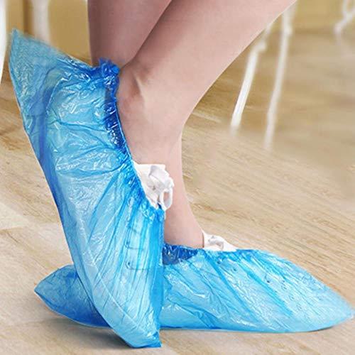 TUOP 100-500 Stks Wegwerp Plastic Outdoor Regenachtige Dag Tapijt Reiniging Schoen Cover Blauw Waterdichte Schoenhoezen