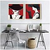 NIEMENGZHEN Druck auf Leinwand Nordische Figur Malerei Wandkunst Bild Roter Hut Frau Sexy Lip Leinwand Malerei Wohnkultur 30 x 30 cm x Kein Rahmen