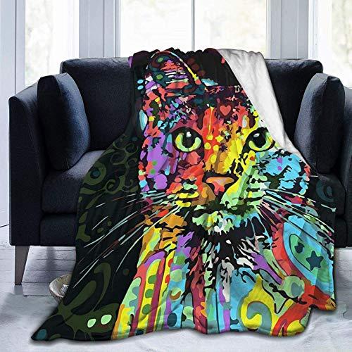 Manta de gato T-rip-py G-raf-fiti estilo manta suave franela polar cálida manta para niños adultos cama sofá viaje