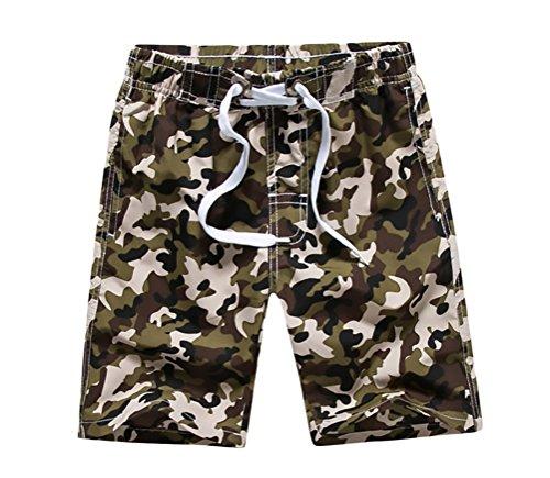 BOLAWOO Kurze Hose Jungen Sommer Strand Badehose Camouflage Vintage Hippie Casual Strandhose Badeshorts Shorts