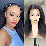 Wigmy 13X4 Kinky straight Glueless lace front wigs human hairfor black women with baby hair, real Yaki Straight Brazilian frontal wigs human hair pre plucked natural black color full and thick