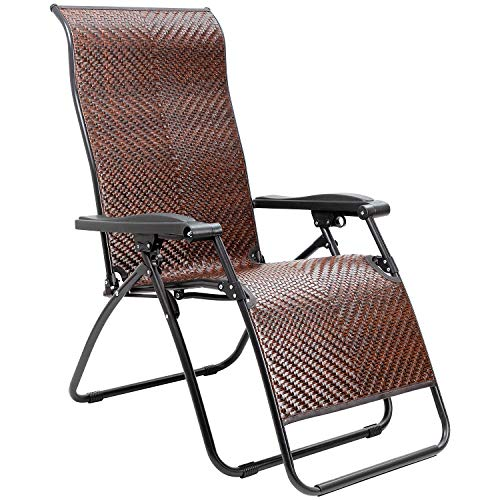 Homall Wicker Zero Gravity Chair Patio Folding Recliner Adjustable Portable Rattan Lounge Outdoor Chair for Lawn Poolside Yard Camping and Fishing (Brown)