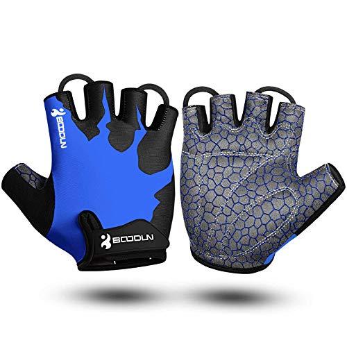 Guantes de Bicicleta Medio Dedo SBR Acolchado Absorción de Impactos Adecuado para Todos Los Deportes Azul M