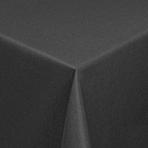 Leinen Optik Tischdecke Tischtuch Tafeldecke Leinendecke Abwaschbar Wasserabweisend Eckig 160 x 320 cm Grau Anthrazit Fleckschutz Pflegeleicht mit Saumrand Leinentuch
