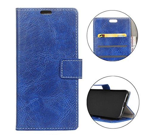 Sunrive Hülle Für Alcatel U5 Plus, Magnetisch Schaltfläche Ledertasche Schutzhülle Case Handyhülle Schalen Handy Tasche Lederhülle(Crazy-Pferd blau)+Gratis Universal Eingabestift