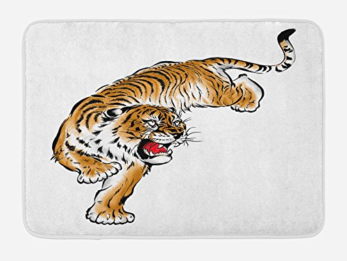 Ambesonne Tiger Bath Mat, Japanese Inspired Large Feline Japanesque Design Free Hand Drawing Traditional, Plush Bathroom Decor Mat with Non Slip Backing, 29.5' X 17.5', Black Brown