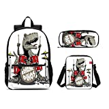 DuJiea Dinosaur Drum Kids Backpack Set 3 Piece Student Back To School Book Bag with Shouder Bag Pencil Case Box for Boys Girls 1-6th Grade