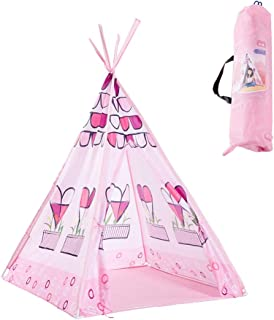 WGXY barn-Tipi flicka lektälte av 190T polyestertyg + miljövänlig PVC-stång vikbar för inomhus- eller utomhusbruk barnkala...