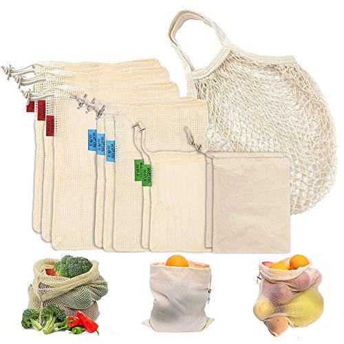 HAPPY FINDING 11er Set Wiederverwendbare Obst- und Gemüsebeutel, Mehrweg Bio Baumwolle Gemüse Beutel, Waschbar Gemüsenetz Obstbeutel Brotbeutel Aufbewahrungstasche Einkaufsbeutel