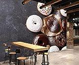 LZQMO Fondo de Pantalla Comida Foto donas Chocolate pastelería Polvo azúcar murales para Restaurante Bar Cocina Fondo decoración Fondo de pantalla-3D_250x175cm