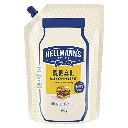 Hellmann's Veg Mayonnaise, 100% Vegetarian Creamy Mayo Used for Dressings and Condiments, 800 g