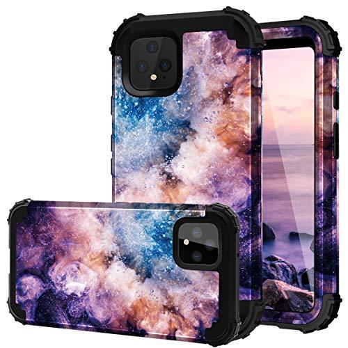 Google Pixel 4 XL Case, Fingic Pixel 4 XL Case 3 in 1 Heavy Duty Hybrid Hard PC Soft Silicone Rugged Bumper Anti Slip Full-Body Shockproof Protective Case for Google Pixel 4XL 6.3 (2019),Nebula Black