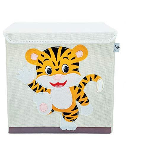 Artli Aufbewahrungsbox Kinder Spielzeug I Spielzeugkiste mit Deckel für das Kinderzimmer I Box Spielzeug Aufbewahrung Regal Tiger 33x33x33cm
