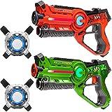 Light Battle 2 Active Pistolas Laser Tag (Verde, Naranja) + 2 Chalecos - Juego de Laser para niños - LBAPV22212