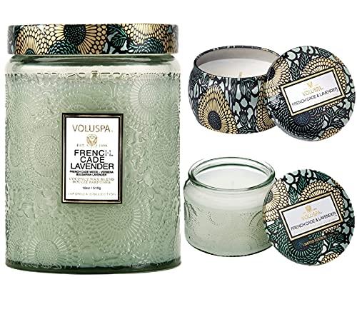 Voluspa French Cade Lavender Bundle: Large Jar, Petite Jar and Mini Tin Candle
