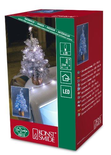Konstsmide USB Künstlicher Weihnachtsbaum mit Lametta und 20weißen LEDs, silberfarben