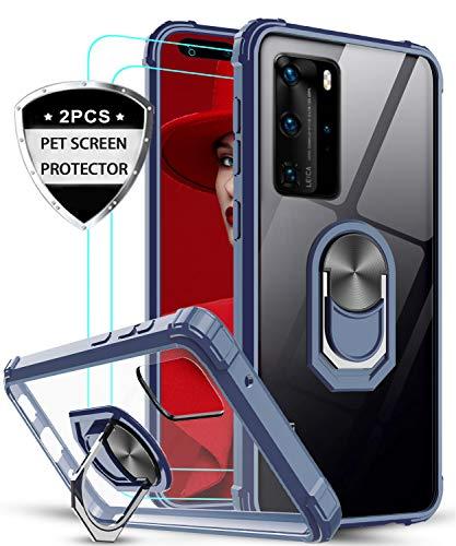 LeYi Funda Huawei P40 Pro con [2-Unidades] 3D Curvo Pet Pantalla,Transparente Carcasa con 360 Grados iman Soporte Silicona Bumper Antigolpes Armor Case para Movil Huawei P40 Pro,Clear Azul