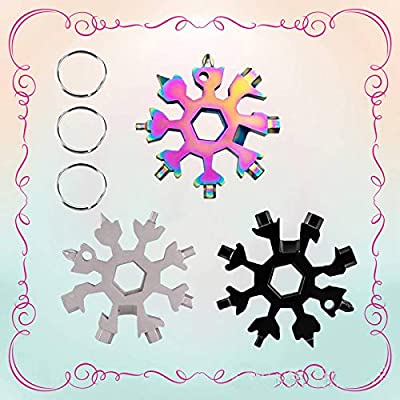 Snow Keychain 18-in-1 Snowflake Multitool,Stainless Steel Snowflake Tool,Portable Snow Multi-tool,Multifunction Wrench Bottle Opener,Great Christmas Gift Black+Silver+Multicolor