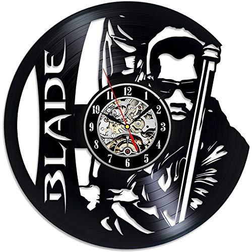 LiNingGz Disco de Vinilo Reloj de Pared Vampiro Hunter Blade Warrior Theme 12 Pulgadas Negro Arte de la Familia de Calado Reloj de Pared Decorativo
