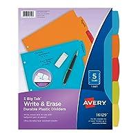 Avery Bigタブ書き込み&消去耐久性プラスチックディバイダー、5multicolortabs、1セット( 16129)