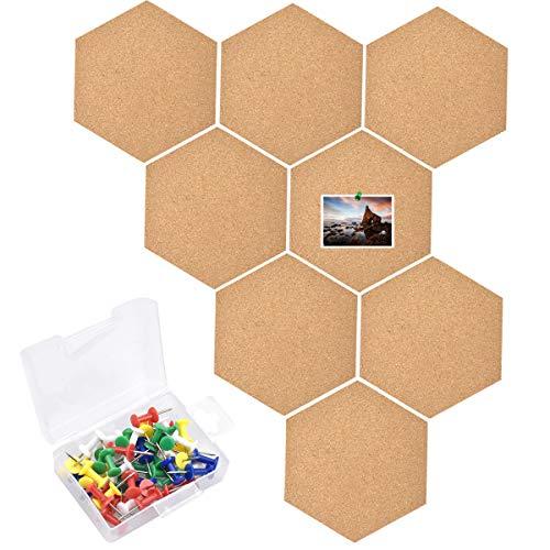 HQdeal Pinnwand Kork, 8 Stück Sechseckige Korkplatte Selbstklebende Korkwand mit 50 Stück Push-Pins, DIY Wanddekoration für Notizen, Bilder, Foto
