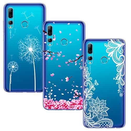 Yoowei [3-Pack] Cover per Honor 20 Lite/Huawei P Smart Plus 2019 Trasparente con Disegni, Morbida Silicone Ultra Sottile TPU Gel Custodia Protettiva, Fiore Bianco + Fiore di Ciliegio + Tarassaco