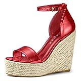 Allegra K Sandalias De Plataforma con Cuña Abierta para Mujer - Rojo/US 8.5, EU 39