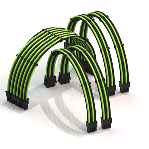 LINKUP - 30cm PSU Kabelverlängerung Ummantelt GPU Nach Maß PC Stromversorgung mit Kamm-Kit┃1x 24 P (20+4)┃2X 8 P (4+4) CPU┃2X 8 P (6+2) GPU Set┃300mm - Grün Shwarz