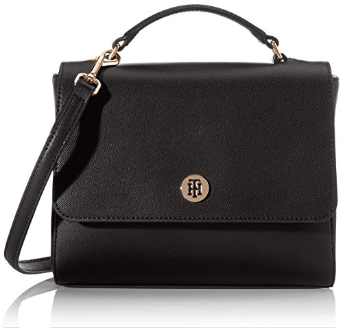 Tommy Hilfiger Damen Honey Flap Satchel Tornistertasche, Schwarz (Black), 1x1x1 cm