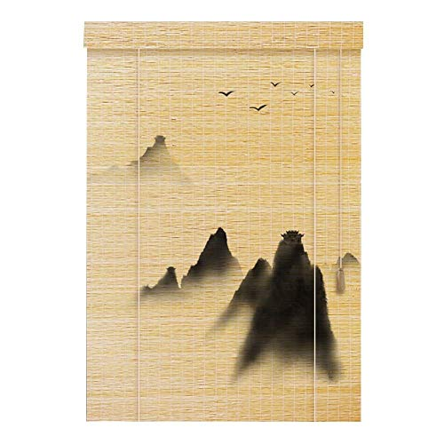 AJZXHE Cortina de Bambu Persianas orientables de bambú de Muebles orientales Cortina de bambú (PATRÓN : A, Tamaño : 100x200cm)
