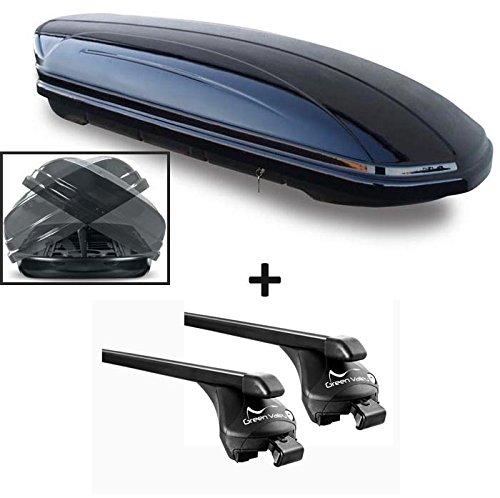 Skibox schwarz MAA 460 Duo beidseitig aufklappbar 460 Liter abschließbar + Relingträger Dachgepäckträger aufliegende Reling im Set kompatibel mit Volvo XC90 ab 2015