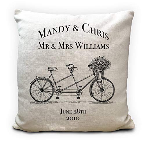 Personalised Wedding Anniversary Gift Cushion Pillow Cover - Names Vintage Tandem Bicycle - 16'