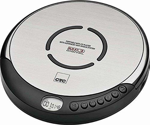 Discman Tragbarer CD Player mit In Ear Kopfhörer MP3 Player (CD Spieler, Abspielgerät, Batterie Betrieb, Schwarz Silber)