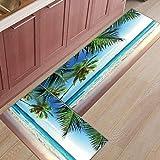 HLXX Alfombra de Puerta de Entrada con Estampado de Paisaje de mar Azul océano Alfombra de Puerta de Entrada Alfombra de Cocina de baño Alfombrillas de Entrada Antideslizantes A2 40x120cm