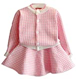 Toddler Kid Baby Girl Autumn Winter Plaid Knitted Sweater Dress Coat Tops and Skirt Set(Style B Pink,3T)