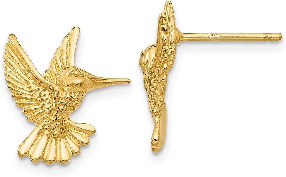 14k Hummingbird Post Earrings 15mm 13mm style TC625
