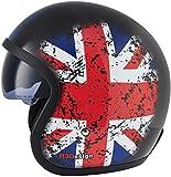 Casco de moto VIPER RSV06 de cara abierta | Casco de moto de turismo con cristal desplegable de protección solar | Casco impreso con bandera del Reino Unido (L)